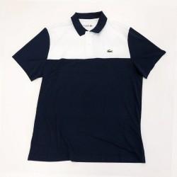 Polo Lacoste SPORT en piqué résistant et respirant Bleu et blanc