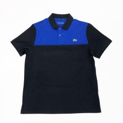 Polo Lacoste SPORT en piqué résistant et respirant Noir et Bleu