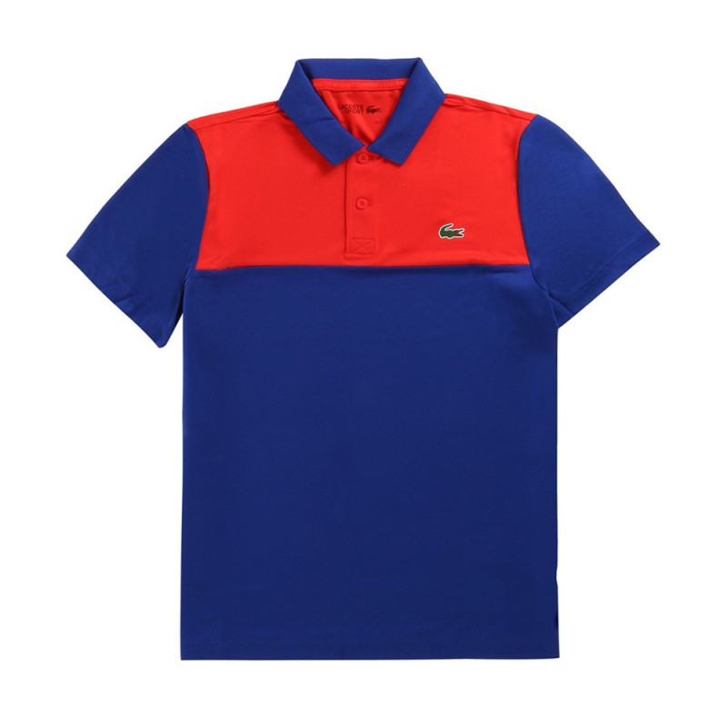 Polo Lacoste SPORT en piqué résistant et respirant Rouge et Bleu