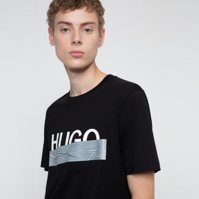 T-shirt Hugo Boss Regular Fit Noir avec logo artistique