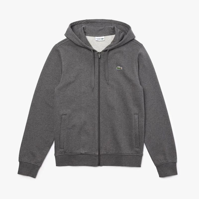 Sweatshirt à capuche Lacoste SPORT léger bi-matière Gris