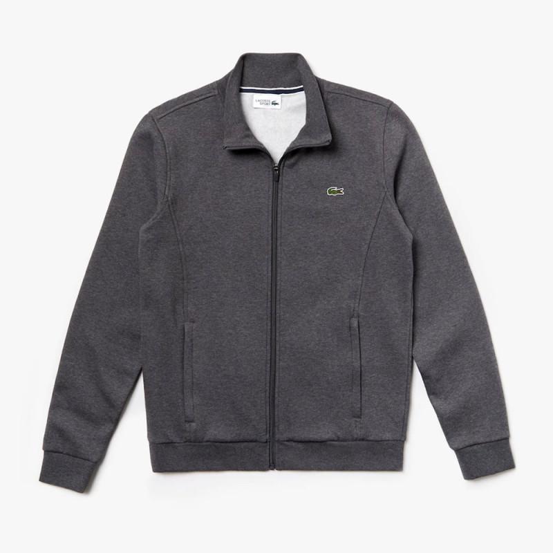 Sweatshirt Lacoste SPORT gris zippé en molleton