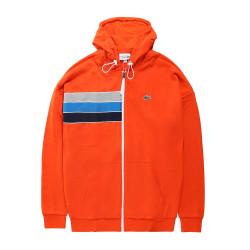 Sweatshirt zippé à capuche Lacoste SPORT en molleton color-block Orange