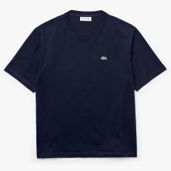 T-shirt Lacoste à col rond en coton Premium Bleu Marine