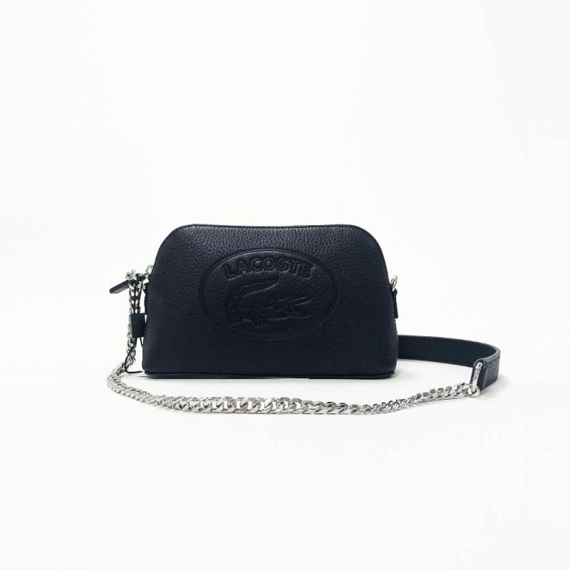 Sac à bandoulière Lacoste Cow Leather en cuir noir