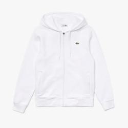 Sweatshirt à capuche Lacoste SPORT léger bi-matière blanc
