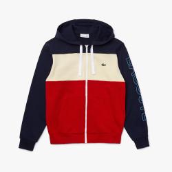 Sweatshirt Lacoste zippé à capuche en molleton color-block