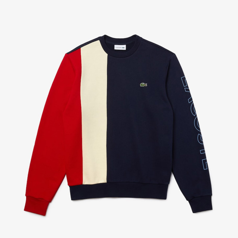 Sweatshirt Lacoste à col rond en molleton color-block avec marquage