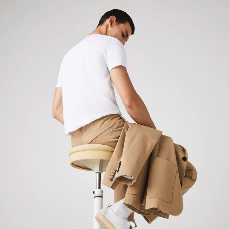 T-shirt Lacoste col rond en jersey de coton pima uni