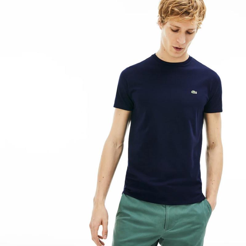 T-shirt Lacoste col rond en jersey de coton pima uni bleu marine