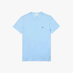 T-shirt Lacoste col rond en jersey de coton pima uni bleu