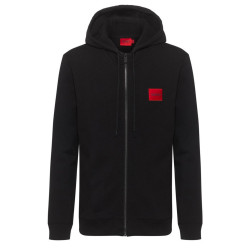 Sweat zippé Hugo Boss Daple en molleton de coton avec patch logo
