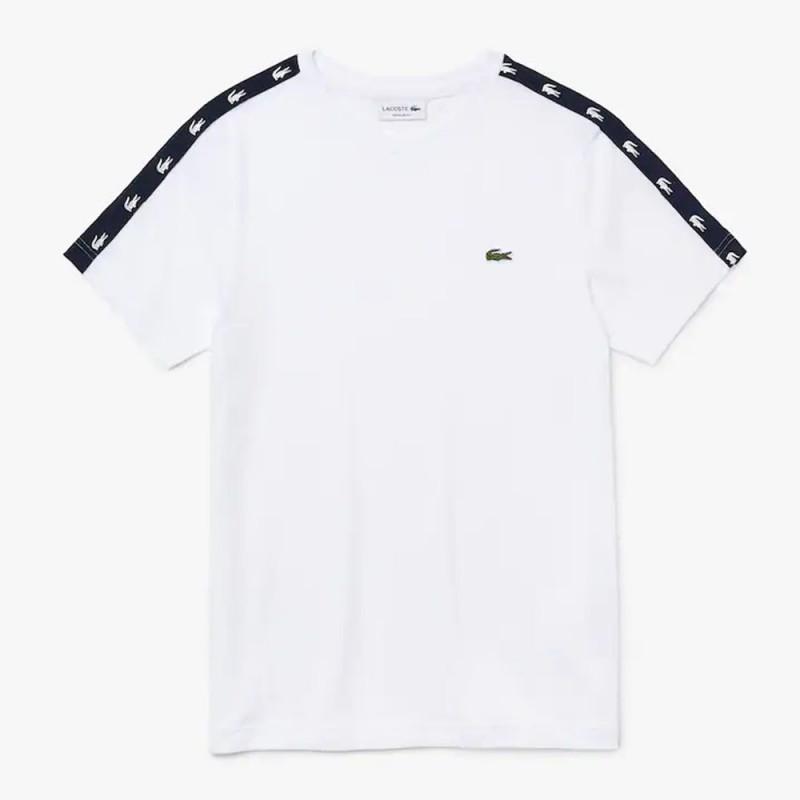 T-shirt à col rond en coton mélangé avec bandes crocodiles