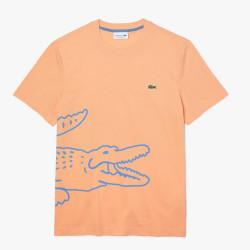 T-shirt à col rond en coton biologique avec crocodile imprimé