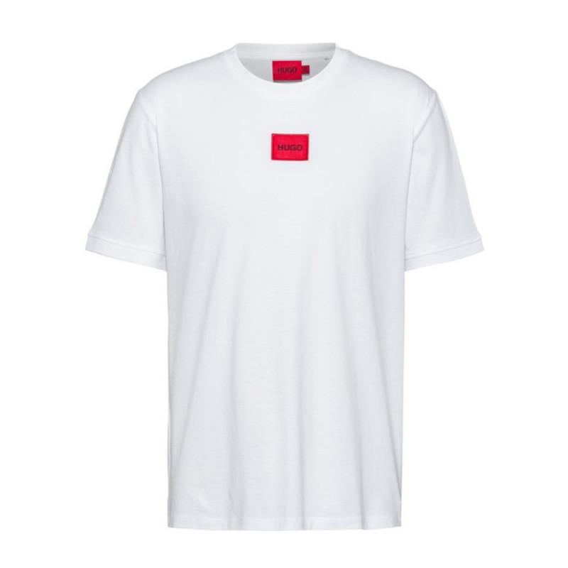T-shirt Hugo Boss Diragolino 212 Regular Fit en coton avec étiquette logo rouge
