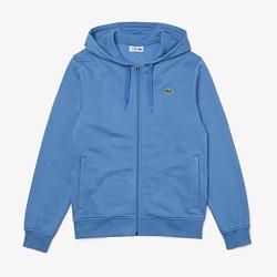 Sweatshirt à capuche Lacoste SPORT léger bi-matière Bleu