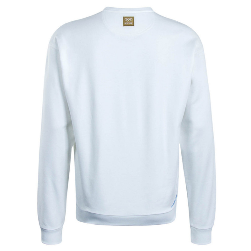 Sweatshirt unisexe Lacoste LIVE blanc en molleton texturé avec signature