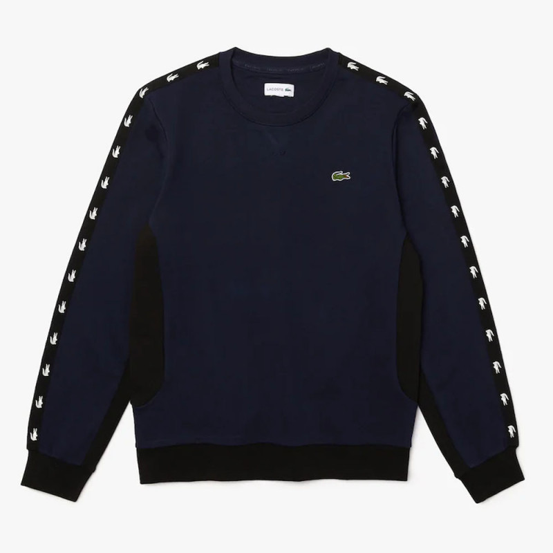 Sweatshirt Lacoste à col rond en molleton color-block Bleu Marine