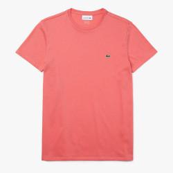 T-shirt col rond Lacoste en jersey de coton pima uni Rose