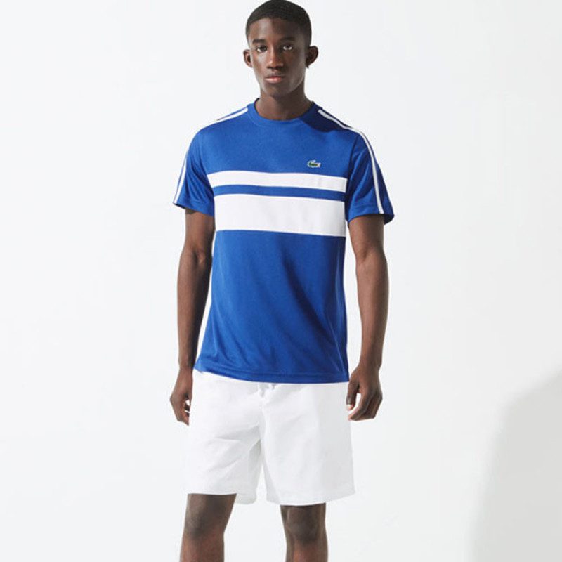 T-shirt Tennis Lacoste SPORT bi-matière respirant à rayures