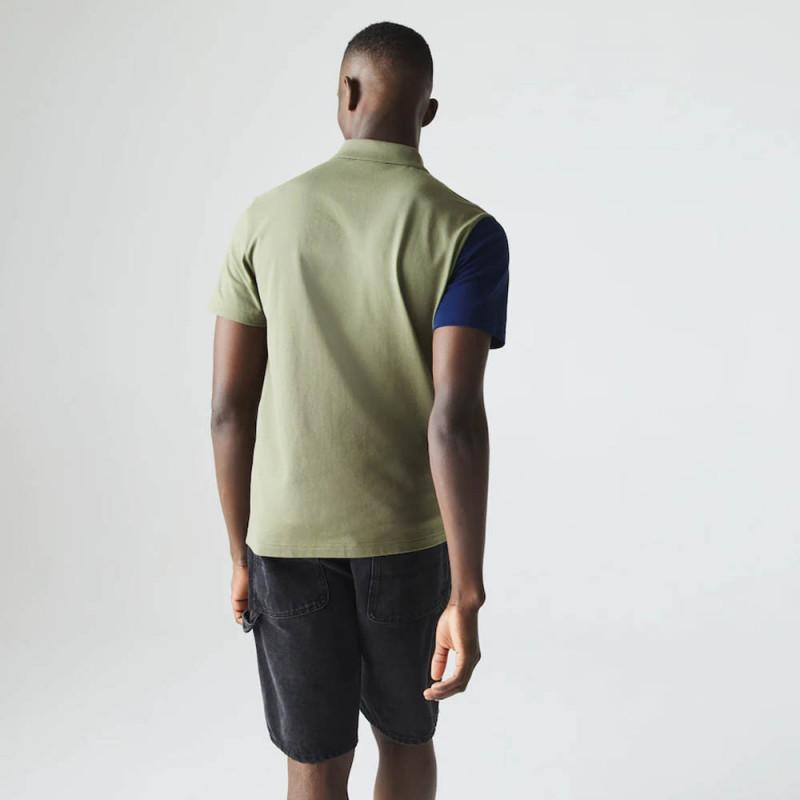 Polo Lacoste regular fit en maille ultra légère color-block