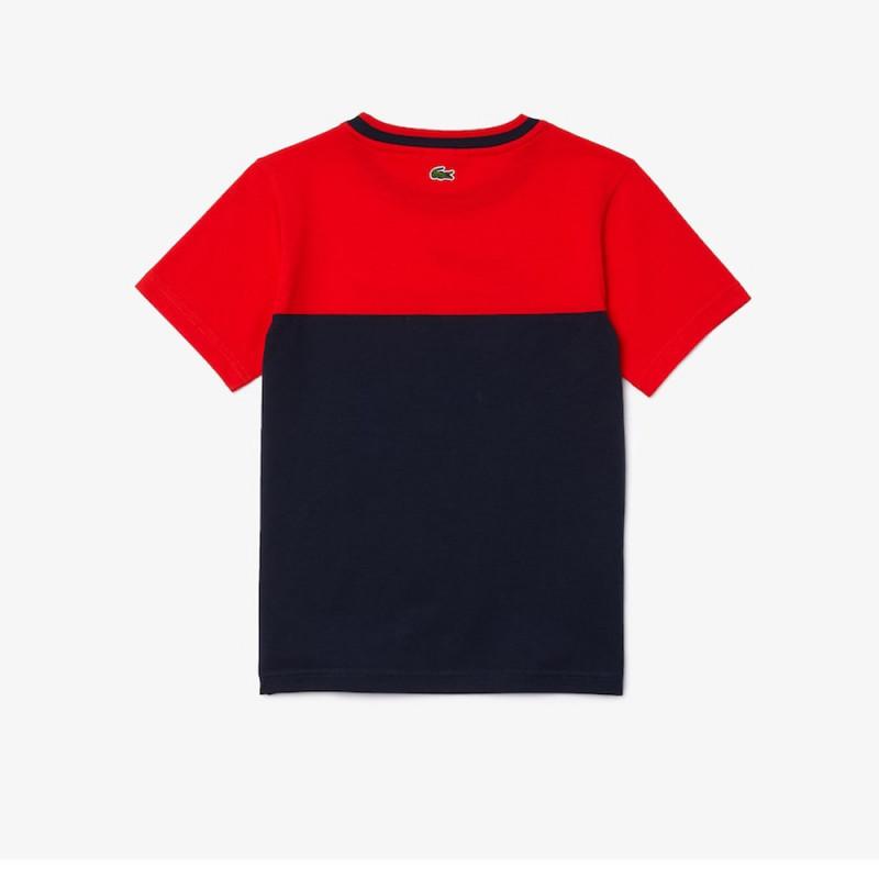 T-shirt Lacoste Garçon à col rond en coton bicolore