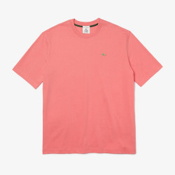 T-shirt unisexe Lacoste LIVE ample en coton uni Rose