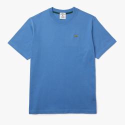 T-shirt unisexe Lacoste LIVE en coton uni Bleu