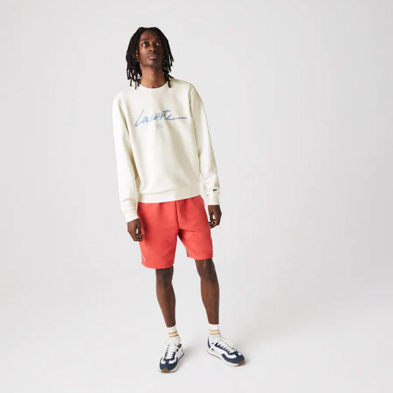 Sweatshirt à col rond Lacoste en molleton de coton avec marquage