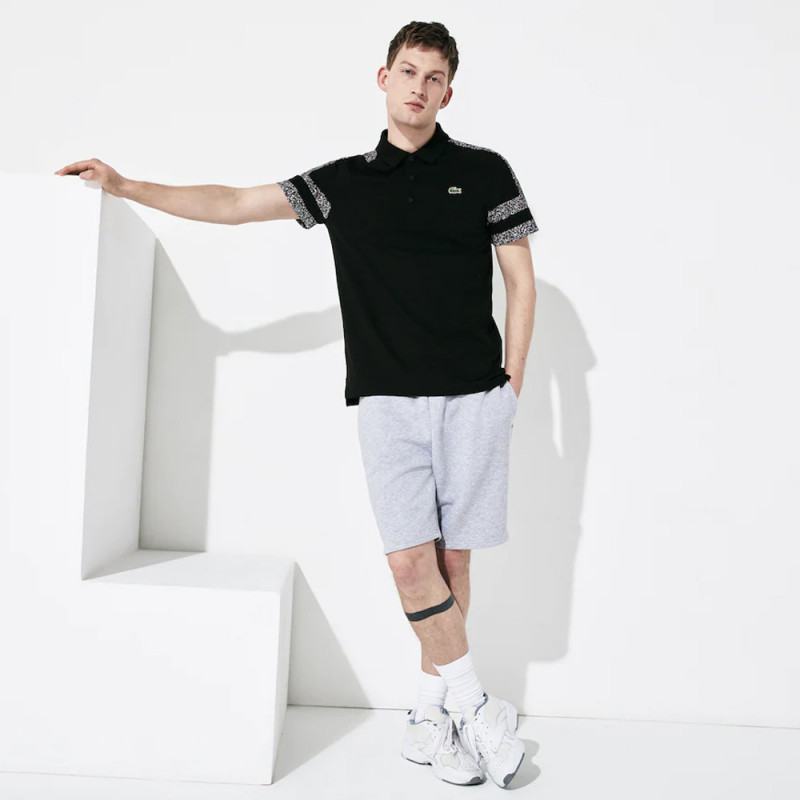 Polo Lacoste SPORT en coton ultra léger avec manches imprimées Noir
