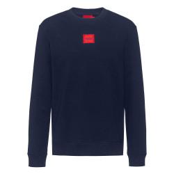 Sweat Hugo Boss Diragol212 Bleu Nuit en molleton de coton avec étiquette logo rouge