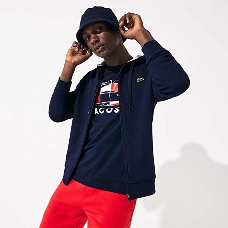 Sweat-Shirt zippé à capuche Lacoste SPORT bleu marine