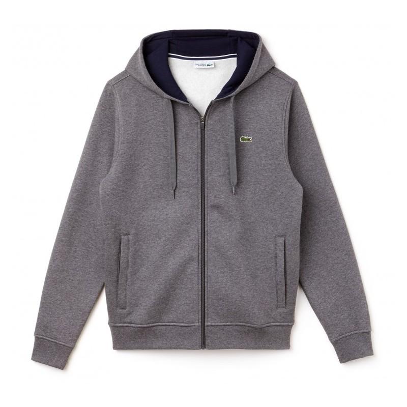 Sweat-Shirt Zippé À Capuche Lacoste SPORT gris