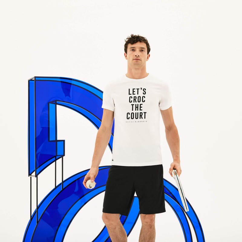 Lacoste Novak Djokovic T-shirt manches courtes homme Blanc