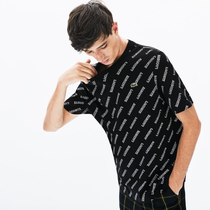 T-shirt col rond Lacoste LIVE en coton imprimé signature