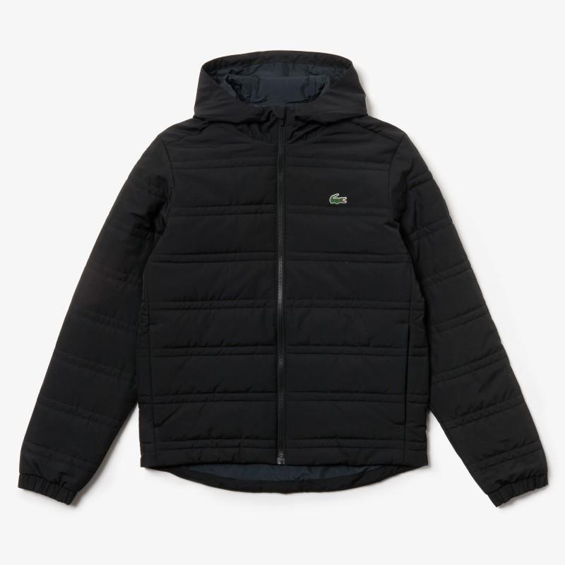 Doudoune Noir zippée à capuche Lacoste pliable et déperlante