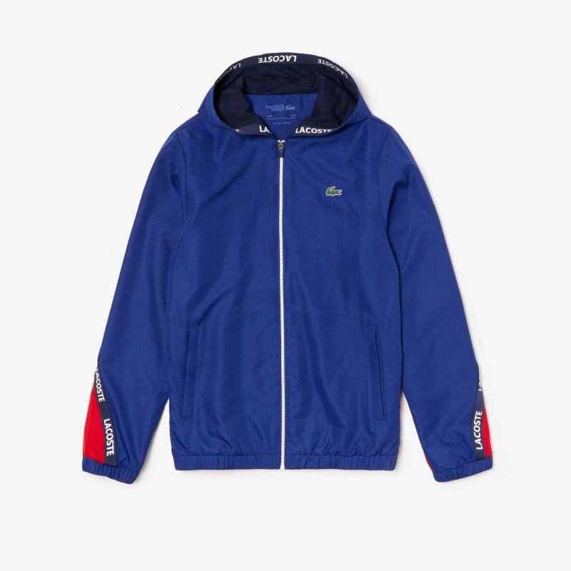 Veste de survêtement Rouge/Bleu Lacoste SPORT bicolore avec bandes signature
