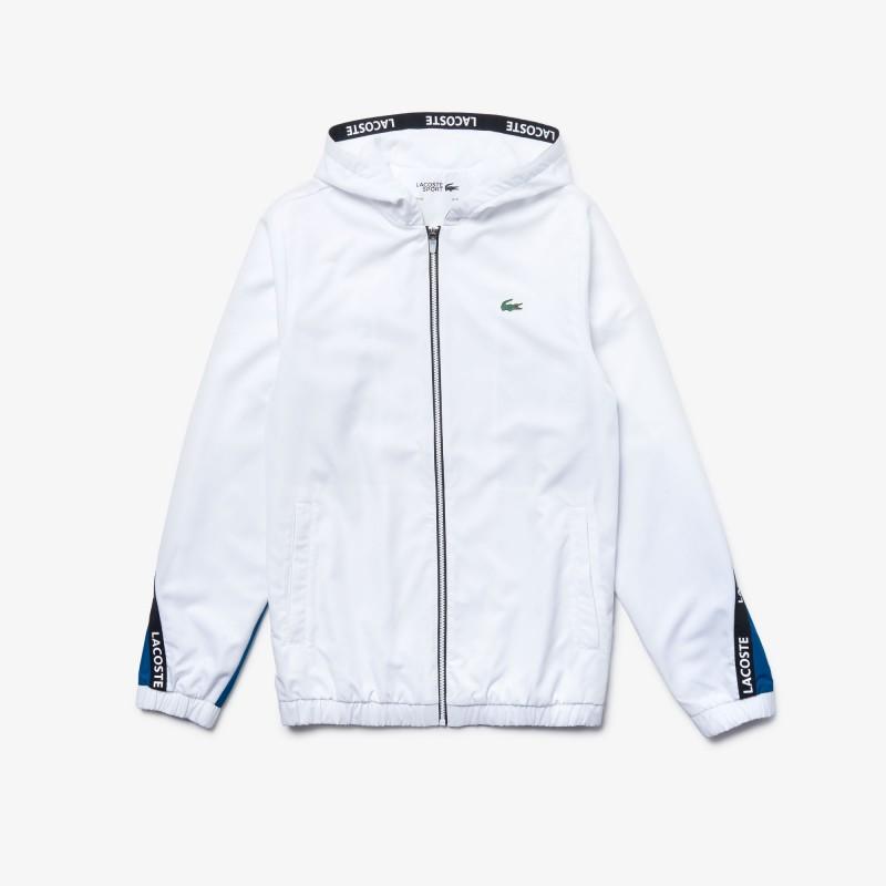 Veste Blanche/Bleu de survêtement Lacoste SPORT bicolore avec bandes signature