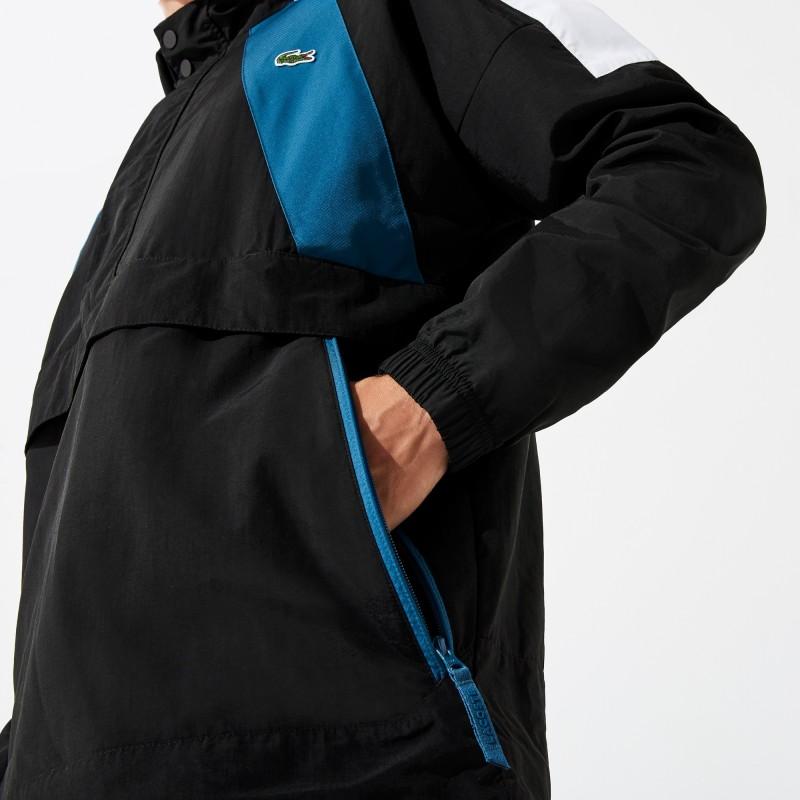 Coupe-vent noir/bleu à enfiler Lacoste SPORT color-block avec marquage
