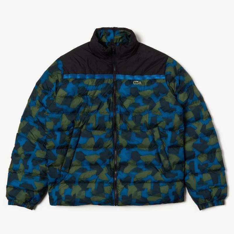 Doudoune noir/bleu/vert zippée Lacoste SPORT color-block déperlante