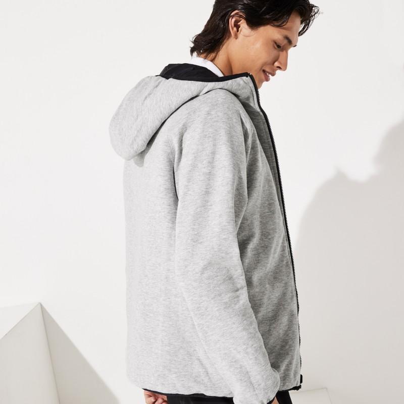 Blouson zippé noir/gris réversible Lacoste SPORT bicolore à capuche