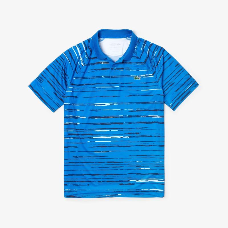 Polo Lacoste bleu SPORT x Novak Djokovic en jersey imprimé