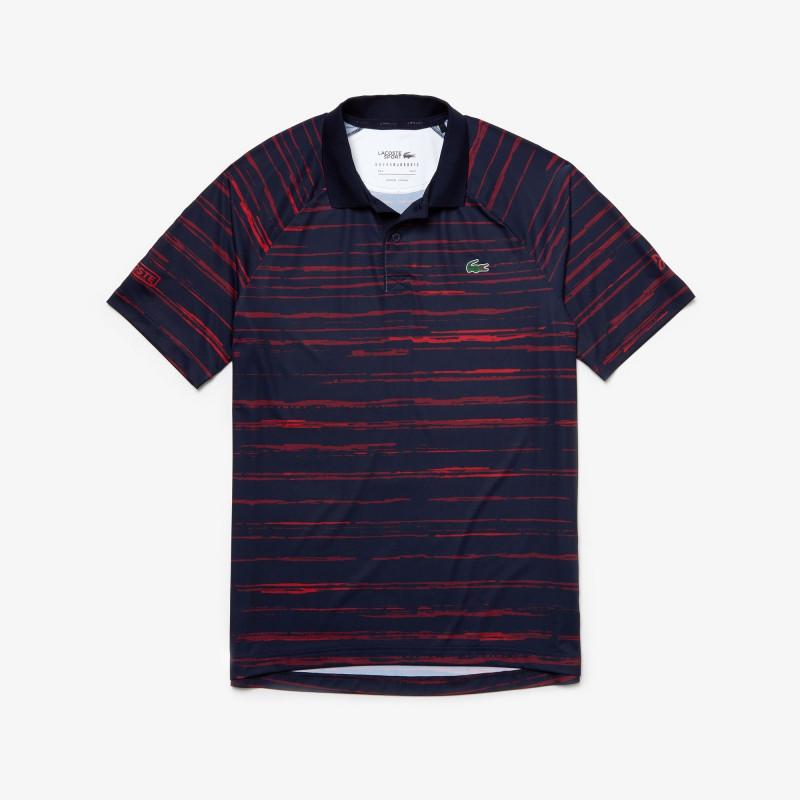 Polo Lacoste SPORT bleu/rouge x Novak Djokovic en jersey imprimé