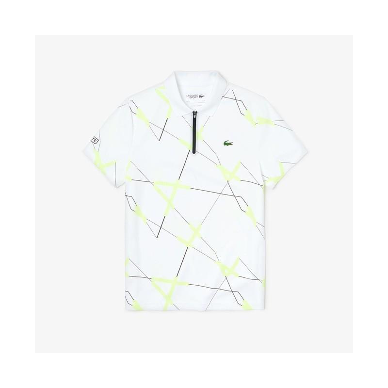 Polo Tennis Lacoste SPORT blanc/noir/jaune en piqué respirant à imprimé graphique