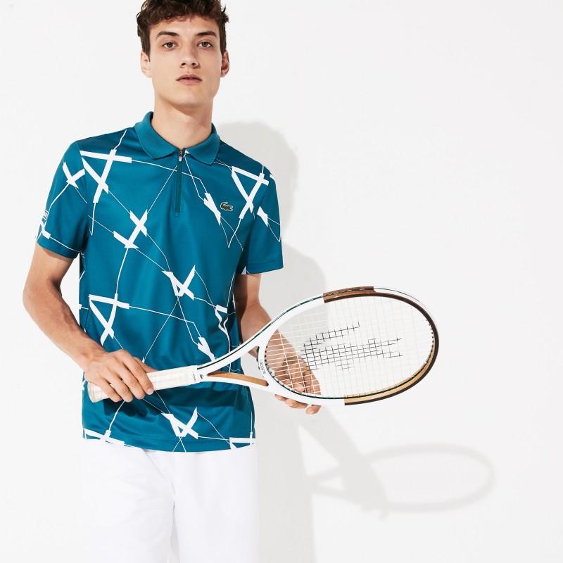 Polo Tennis Lacoste SPORT bleu/blanc en piqué respirant à imprimé graphique