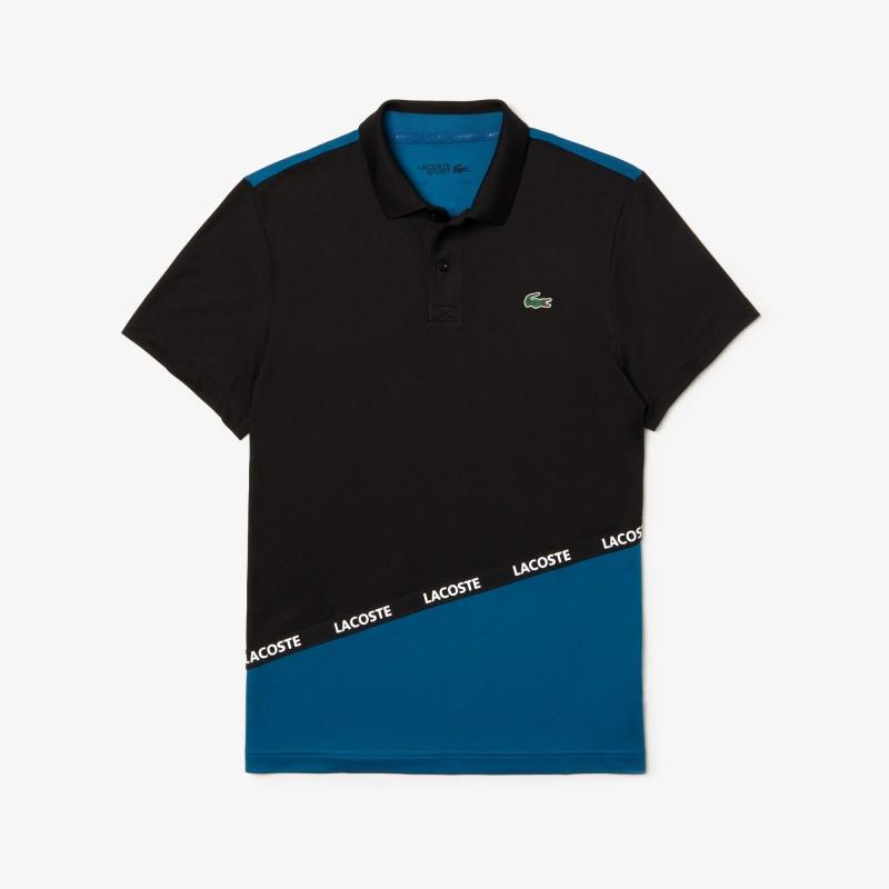 Polo Lacoste SPORT noir/bleu en piqué respirant color-block avec bande signature
