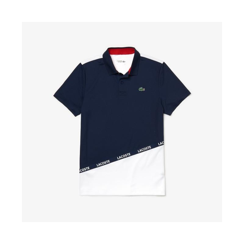Polo Lacoste SPORT bleu/banc/rouge len piqué respirant color-block avec bande signature