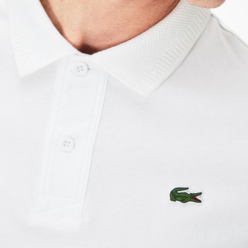 Polo Lacoste SPORT blanc en jersey de coton avec badge en silicone