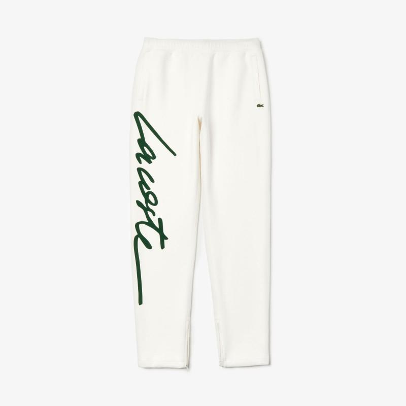 Jogging unisexe Lacoste LIVE blanc en molleton texturé avec signature