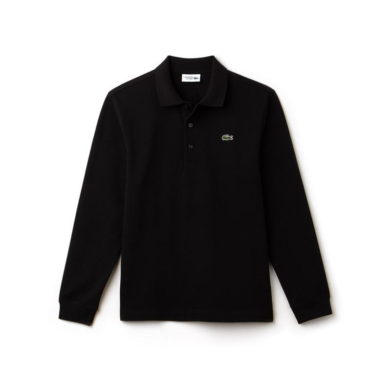 Polo à manches longues Lacoste SPORT noir en coton ultra léger